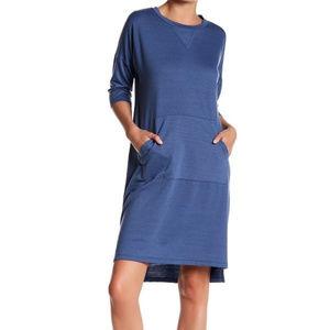 Bobeau Blue Shift Dress Pocket High Low Dress M